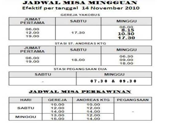 jadwal misa updated 5 mei 2013