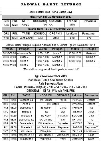 Jadwal bakti liturgis24-25 November 2013