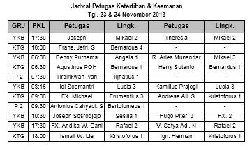 jadwal petugas tatib 24-25 November 2013