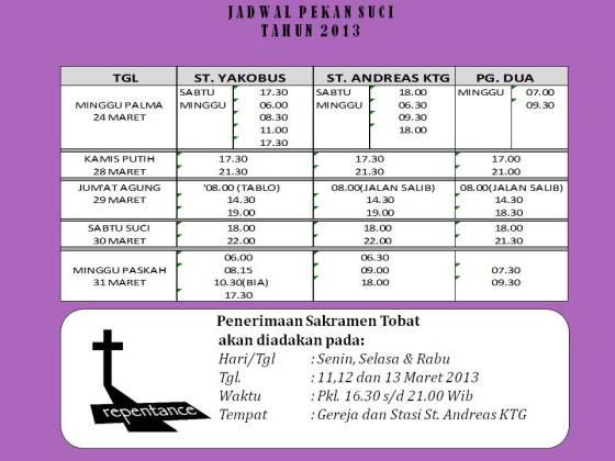 Jadwal pekan suci  tahun 2013 gereja Yakobus-1