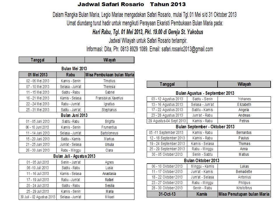 jadwal safari rosario 2013 april 30 2013 at 5 24 am read more
