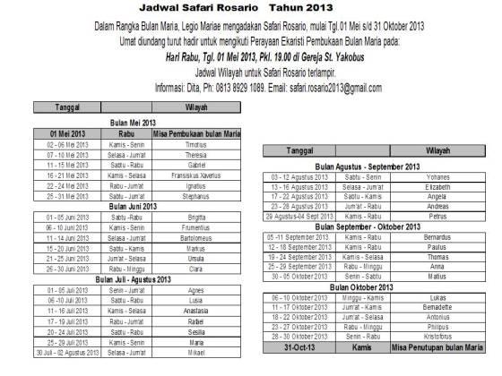 jadwal safari Rosario 2013