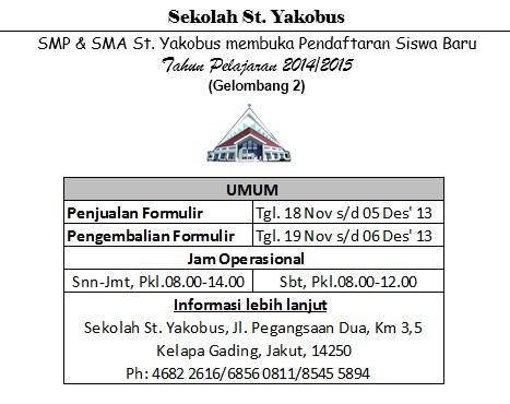 Pendaftaran sekolah yakobus gelombang 2 2013