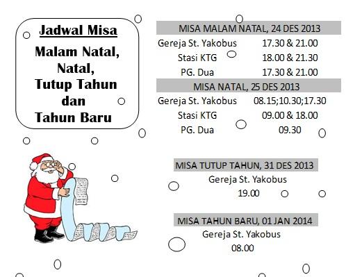 jadwal misa Natal & tutup Tahun 2013