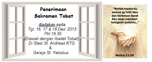 jadwal sakramen tobat Des 2013